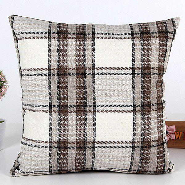 High Quality Square Shape Brown Plaid Pattern Linen Pillow Case(Without Pillow Inner)