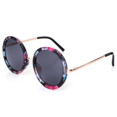 Chic Flower Round Frame and Golden Leg Design Women's Sunglasses - BLACK