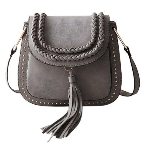 Stylish Tassels and Weaving Design Women's Crossbody Bag - GRAY
