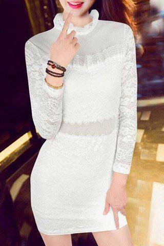Sexy Women's Ruffled See-Through Long Sleeve Dress - WHITE M