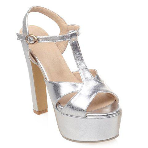 Elegant T-Strap and PU Leather Design Sandals For Women - SILVER 35