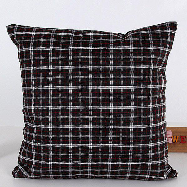 High Quality Square Shape Black Plaid Pattern Flax Pillow Case(Without Pillow Inner) - BLACK