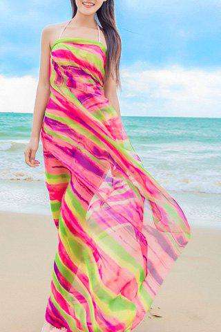 Chic Irregular Stripe Pattern Women's Chiffon Sarong - GREEN