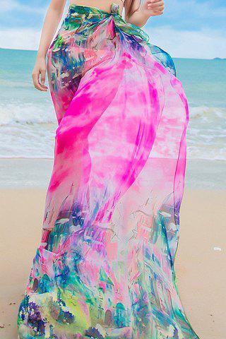 Chic Town Painting Pattern Women's Chiffon Sarong -  ROSE