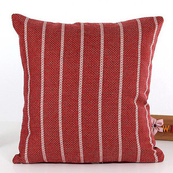 High Quality Square Shape Stripe Pattern Flax Pillow Case(Without Pillow Inner) - RED