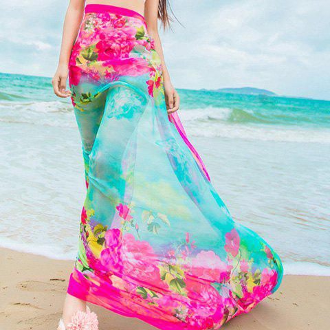 Chic Various Flowers Pattern Women's Chiffon Sarong - BLUE