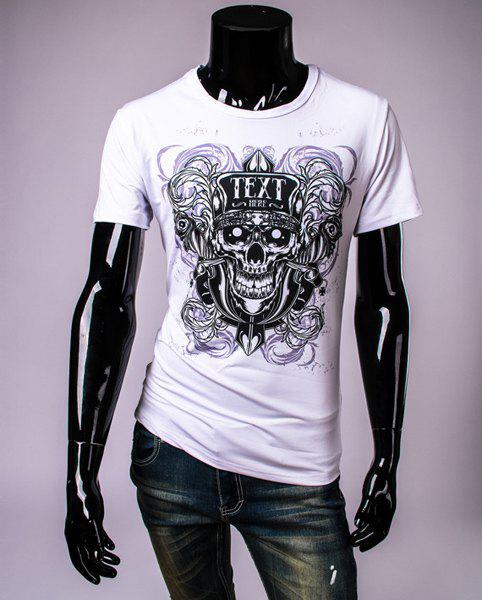Personality Round Neck Letters Print Skull Pattern Short Sleeve Men's T-Shirt - WHITE M