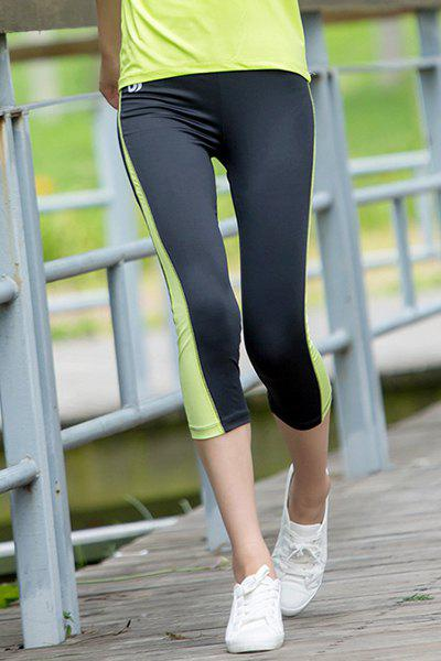 Active Elastic Waist Colot Block Leggings For Women - LIGHT GREEN S