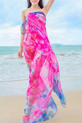 Chic Flowers Painting Pattern Women's Chiffon Sarong - ROSE
