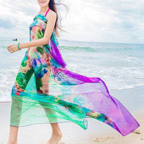 Chic Magnificent Peony Pattern Women's Chiffon Sarong - GREEN