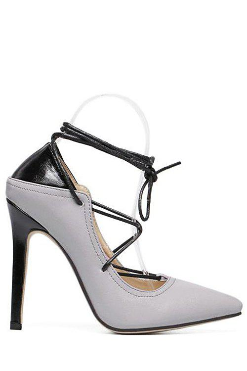 Trendy Cross-Strap and Color Block Design Pumps For Women - GRAY 36