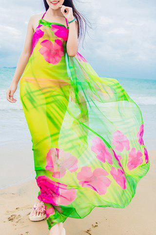 Chic Big Flower Pattern Women's Chiffon Sarong - GREEN