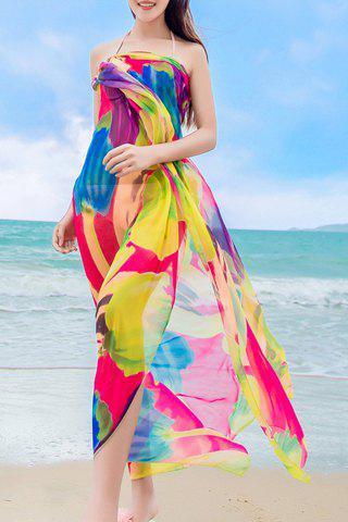 Chic Big Flower Painting Pattern Women's Chiffon Sarong