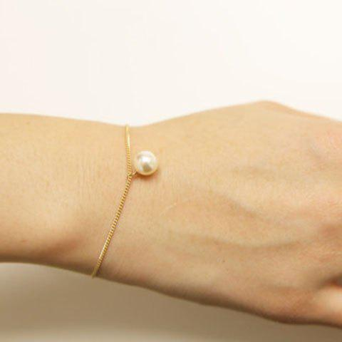 Faux Pearl Chain Bracelet - GOLDEN