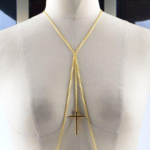 Stunning Exaggerated Solid Color Cross Pendant Body Chain For Women - GOLDEN
