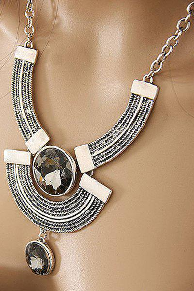 Faux Crystal Round Metal Arc Necklace - SILVER