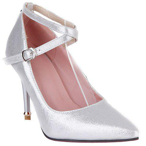 Fashionable Rivets and Cross Straps Design Women's Pumps - SILVER 36