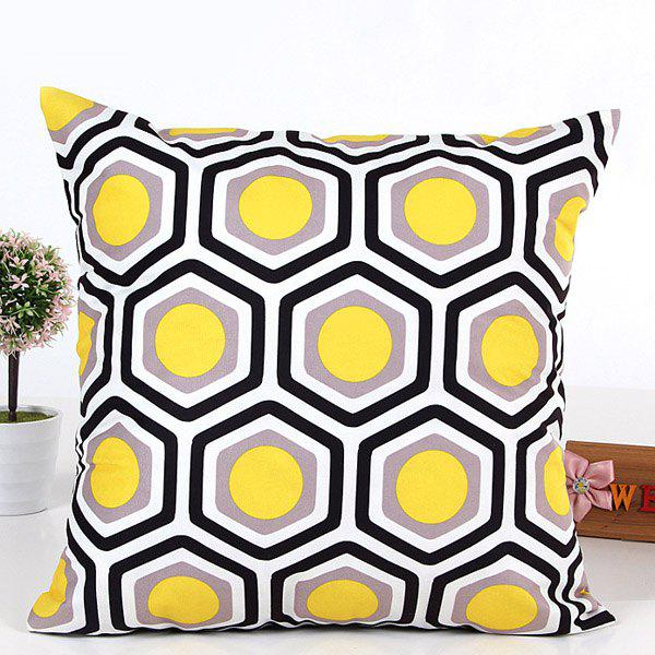 High Quality Square Shape Colorful Geometric Pattern Pillow Case(Without Pillow Inner) - YELLOW