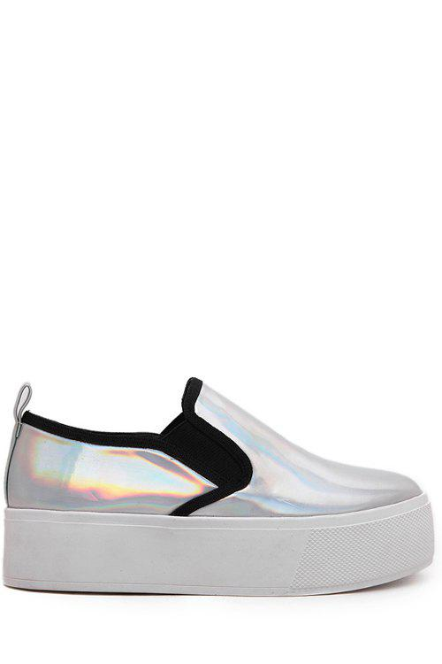 Casual Metallic Color and Elastic Design Platform Shoes For Women - SILVER 37