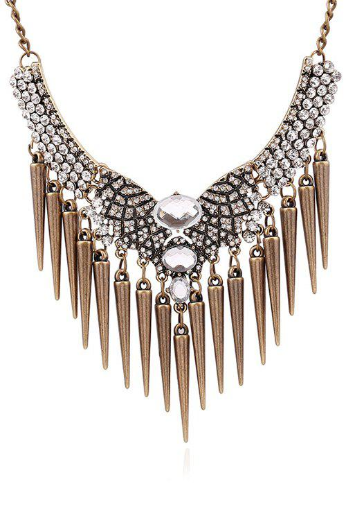 Rhinestone Faux Crystal Cone Fringed Necklace - COPPER COLOR