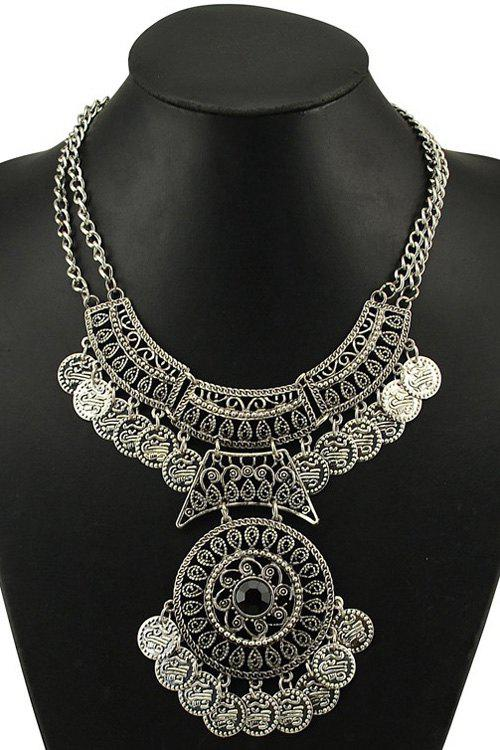 Vintage Coin Round Necklace - SILVER