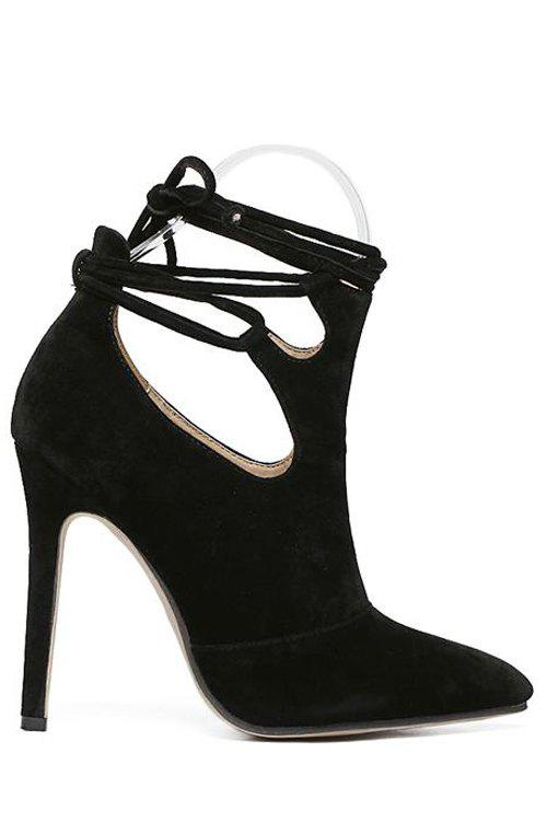Stylish Cross-Strap and Hollow Out Design Pumps For Women - BLACK 38