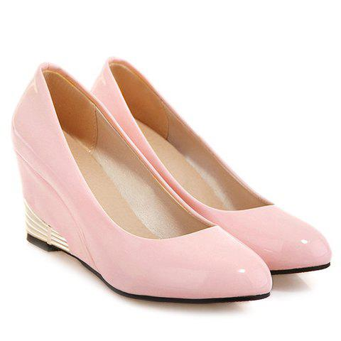 Fashionable Round Toe and Patent Leather Design Women's Wedge Shoes - PINK 39