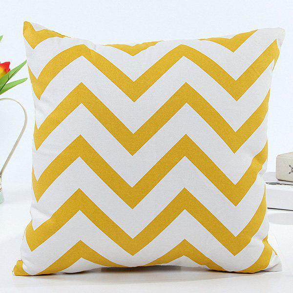 High Quality Square Shape Wavy Pattern Pillow Case(Without Pillow Inner) - YELLOW