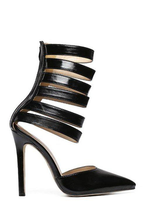 Sexy Straps and Pointed Toe Design Pumps For Women - BLACK 36