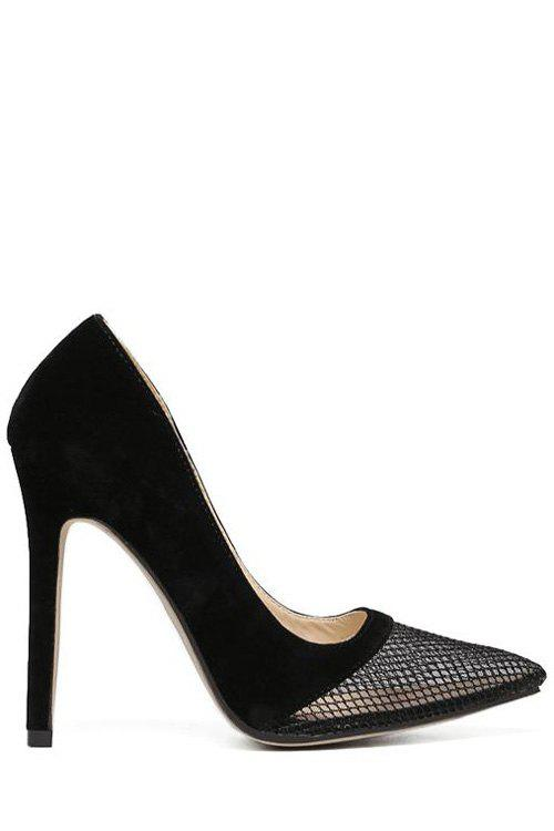 Sexy Mesh and Stiletto Heel Design Pumps For Women - BLACK 39