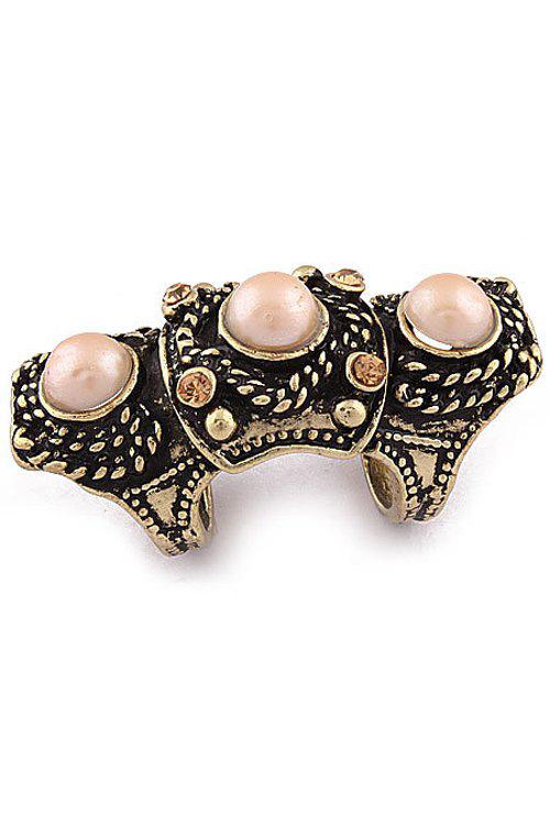 Vintage Faux Pearl Arthrosis Ring For Women - ONE-SIZE YELLOW