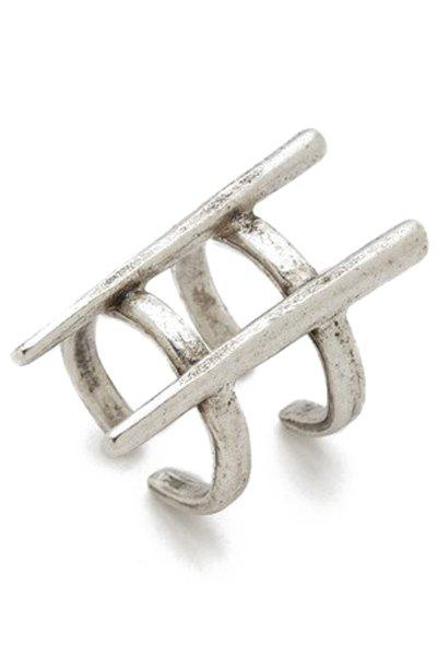 Vintage Two Layered Rivet Cuff Ring - SILVER ONE-SIZE
