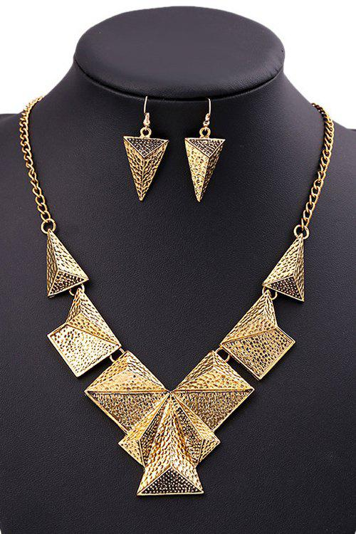 A Suit of Punk Triangle Necklace and Earrings For Women