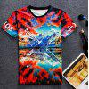 Round Neck 3D Beautiful Scenery Pattern Short Sleeve Men's T-Shirt - COLORMIX M