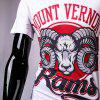 3D Goat and Letters Print Round Neck Short Sleeve Men's T-Shirt - WHITE XL