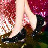 Fashionable Round Toe and Patent Leather Design Women's Wedge Shoes - BLACK 36