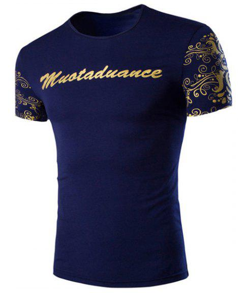 Slimming Round Collar Letter Printed Short Sleeves T-Shirt For Men - DEEP BLUE 3XL