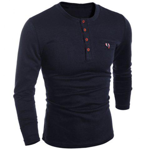 Round Neck Edging Design Long Sleeve Buttons Embellished Men's T-Shirt - BLACK 2XL