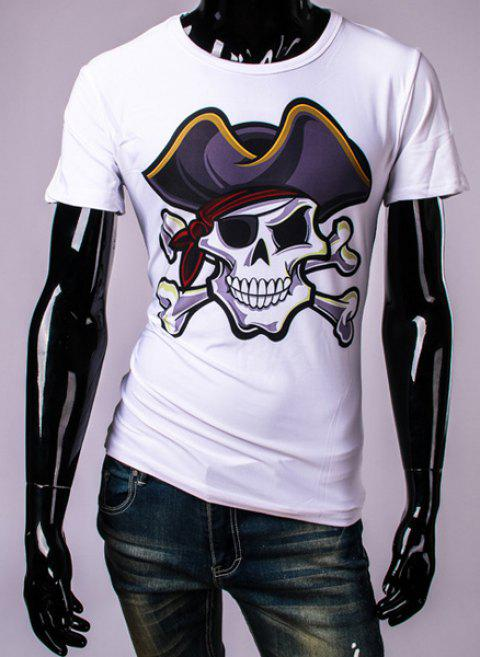 3D Pirate Skull Print Round Neck Short Sleeve Men's T-Shirt - WHITE XL