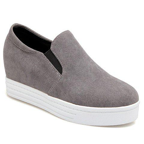 Simple Solid Colour and Suede Design Women's Wedge Shoes - GRAY 37