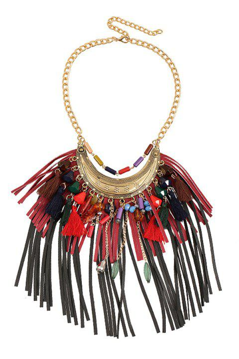 Stylish Ethnic Faux Leather Tassel Sweater Chain For Women - RED
