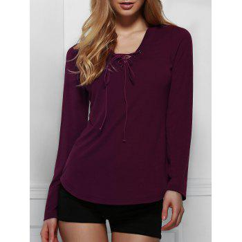 Chic Long Sleeve V Neck Lace-Up Women's T-Shirt