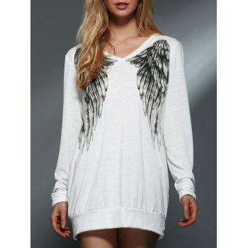 Trendy Back Wing Printed Long Sleeve Pullover Sweatshirt For Women