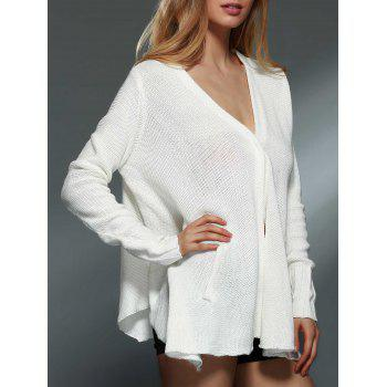 Trendy Solid Color V-Neck Long Sleeve Asymmetric Cardigan For Women