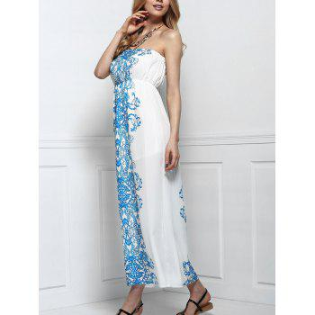Sleeveless Strapless Floral Print Maxi Dress