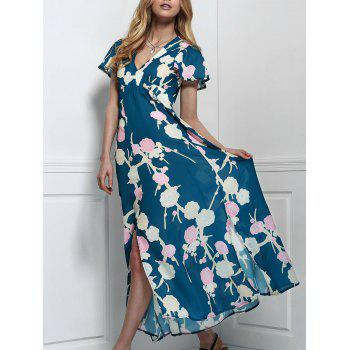 Stylish V-Neck Short Sleeve Floral Print Maxi Women's Dress