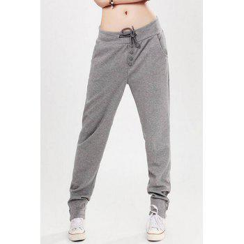 Active Waist Drawstring Pocket Design Pure Color Women's Pants