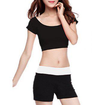 Chic Short Sleeve Scoop Neck Hit Color Women's Yoga Suit - BLACK BLACK