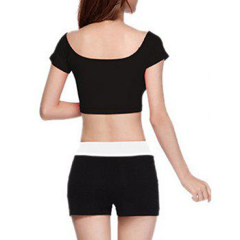 Chic Short Sleeve Scoop Neck Hit Color Women's Yoga Suit - BLACK XL