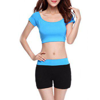 Chic Short Sleeve Scoop Neck Hit Color Women's Yoga Suit - BLUE BLUE